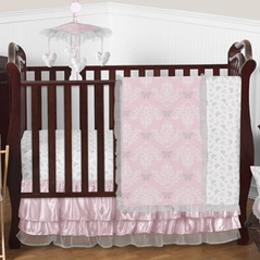 Pink and Gray Alexa Butterfly Baby Bedding - 4pc Crib Set by Sweet Jojo Designs