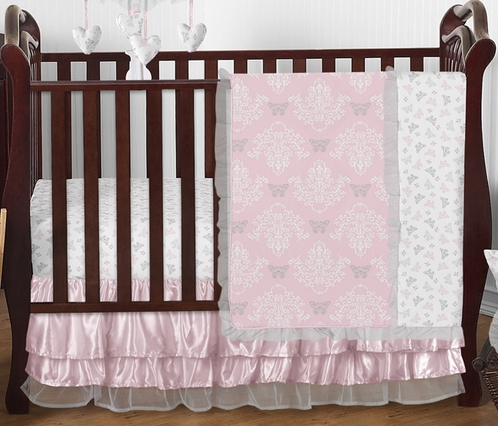 Pink and Gray Alexa Butterfly Baby Bedding - 4pc Crib Set by Sweet Jojo Designs - Click to enlarge