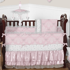 Pink And Gray Alexa Erfly Baby Bedding 9pc Crib Set By Sweet Jojo Designs