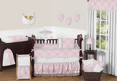Pink and Gray Alexa Butterfly Baby Bedding - 9pc Crib Set by Sweet Jojo Designs - Click to enlarge