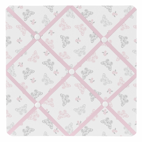 Pink and Gray Alexa Butterfly Fabric Memory/Memo Photo Bulletin Board - Click to enlarge