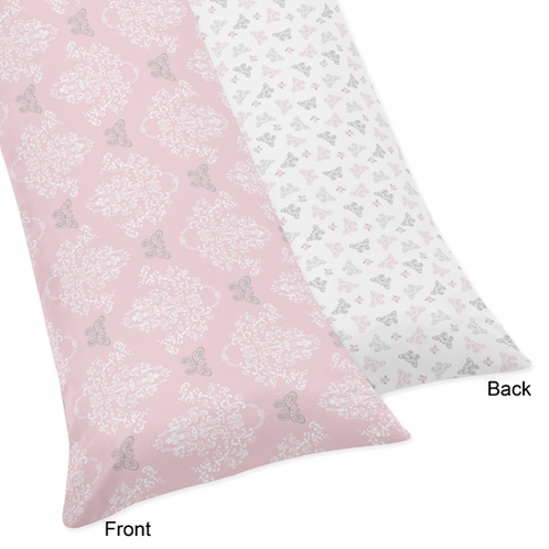 Pink and Gray Alexa Butterfly Full Length Double Zippered Body Pillow Case Cover - Click to enlarge