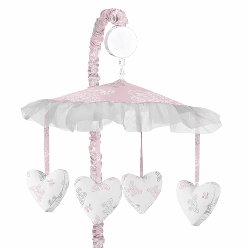 Pink and Gray Alexa Butterfly Musical Baby Crib Mobile by Sweet Jojo Designs - Click to enlarge