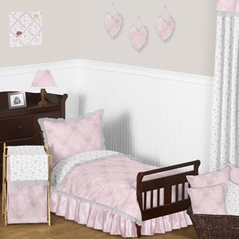 Pink and Gray Alexa Butterfly Toddler Bedding - 5pc Girls Set by Sweet Jojo Designs