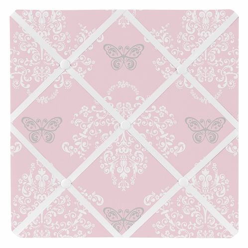 Pink and Gray Alexa Damask Butterfly Fabric Memory/Memo Photo Bulletin Board by Sweet Jojo Designs - Click to enlarge