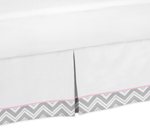 Pink and Gray Chevron Queen Bed Skirt for Childrens Teen Bedding Sets by Sweet Jojo Designs