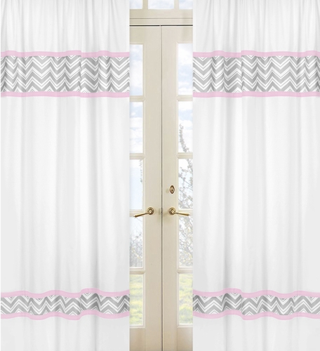 Pink and Gray Chevron Window Treatment Panels by Sweet Jojo Designs - Set of 2 - Click to enlarge