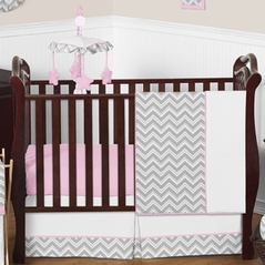 Pink and Gray Chevron Zig Zag Baby Bedding - 11pc Crib Set by Sweet Jojo Designs