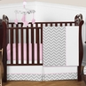 Pink and Gray Chevron Zig Zag Baby Bedding - 4pc Crib Set by Sweet Jojo Designs