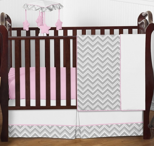 Pink and Gray Chevron Zig Zag Baby Bedding - 4pc Crib Set by Sweet Jojo Designs - Click to enlarge