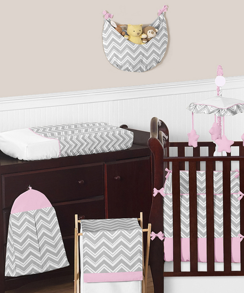 Pink And Gray Chevron Zig Zag Baby Bedding 9pc Crib Set By Sweet Jojo Designs Only 77 10