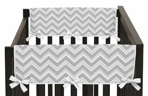 Pink and Gray Chevron Zig Zag Baby Crib Side Rail Guard Covers by Sweet Jojo Designs - Set of 2 - Click to enlarge