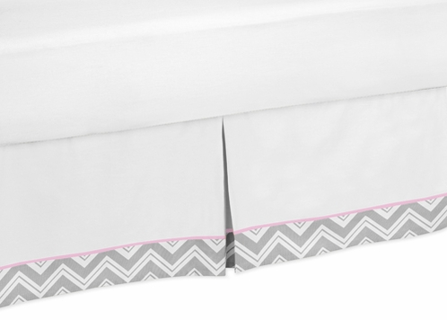 Pink and Gray Chevron Zig Zag Bed Skirt for Toddler Bedding Sets by Sweet Jojo Designs - Click to enlarge