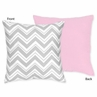 Pink and Gray Chevron Zig Zag Decorative Accent Throw Pillow by Sweet Jojo Designs