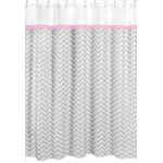 Pink and Gray Chevron Zig Zag Kids Bathroom Fabric Bath Shower Curtain by Sweet Jojo Designs