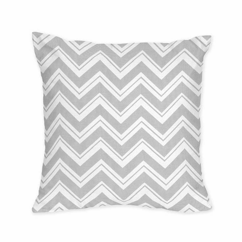 Decorative Accent Throw Pillow for Pink and Gray Chevron Zig Zag Bedding Collection by Sweet Jojo Designs - Click to enlarge