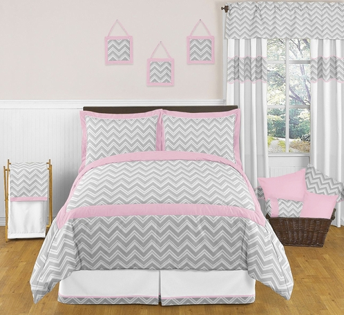 Pink and Gray Chevron Childrens and Kids Bedding - 3pc Full / Queen Set by Sweet Jojo Designs - Click to enlarge