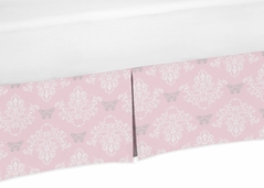 Pink and Gray Damask Crib Bed Skirt for Alexa Baby Bedding Sets by Sweet Jojo Designs