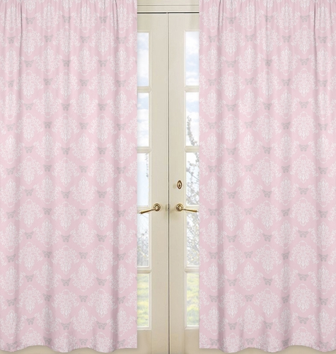 Pink and Gray Damask Window Treatment Panels for Alexa Collection - Set of 2 - Click to enlarge