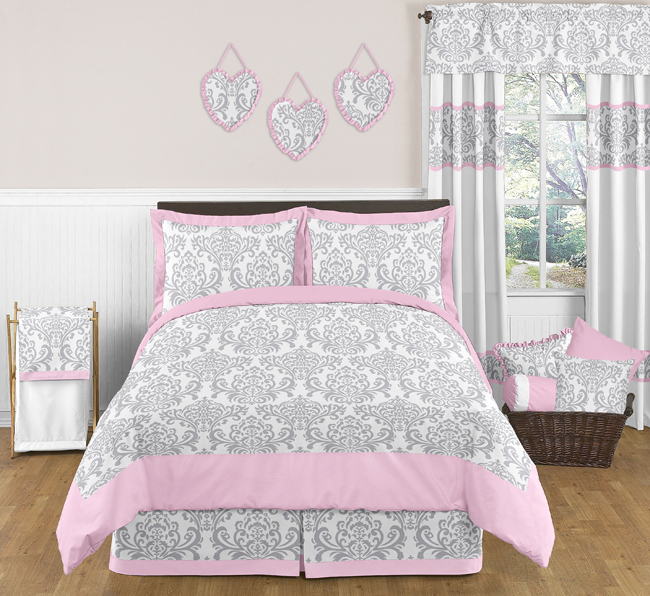 pink gray and white elizabeth childrens and kids bedding 3pc full queen set by sweet jojo designs only