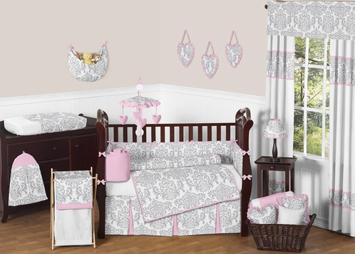 Pink Gray And White Elizabeth Baby Bedding 9pc Crib Set By Sweet Jojo Designs