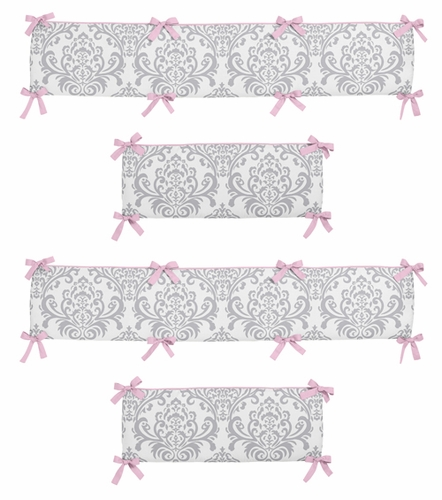Pink and Gray Elizabeth Collection Crib Bumper by Sweet Jojo Designs - Click to enlarge