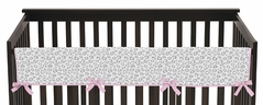 Pink and Gray Kenya Baby Crib Long Rail Guard Cover by Sweet Jojo Designs