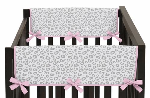 Pink and Gray Kenya Baby Crib Side Rail Guard Covers by Sweet Jojo Designs - Set of 2 - Click to enlarge