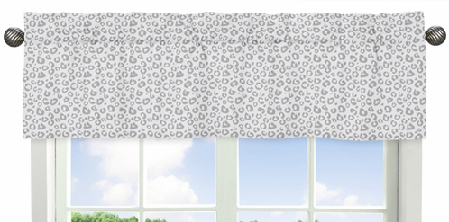 Grey and White Animal Print Window Valance for Pink and Gray Kenya Collection - Click to enlarge