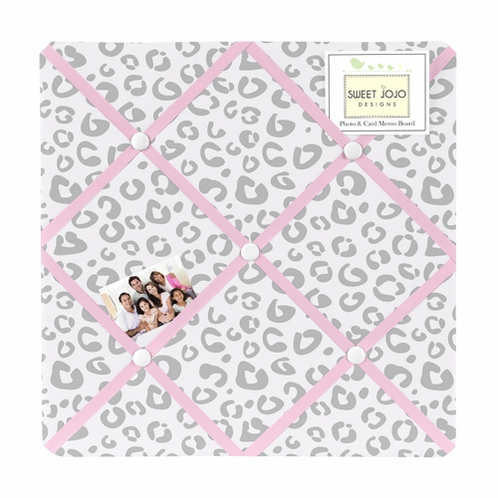 Pink and Gray Kenya Fabric Memory/Memo Photo Bulletin Board by Sweet Jojo Designs - Click to enlarge