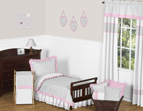 Pink and Gray Kenya Toddler Bedding - 5pc Set by Sweet Jojo Designs - Click to enlarge
