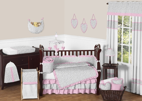 Pink and Gray Kenya Baby Bedding - 9pc Crib Set by Sweet Jojo Designs - Click to enlarge
