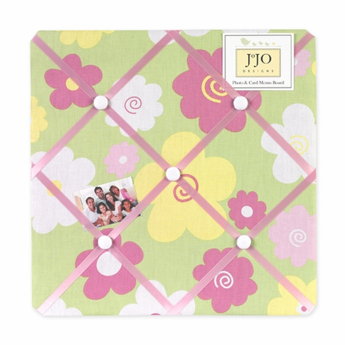Pink and Green Blossom Fabric Memory/Memo Photo Bulletin Board - Click to enlarge