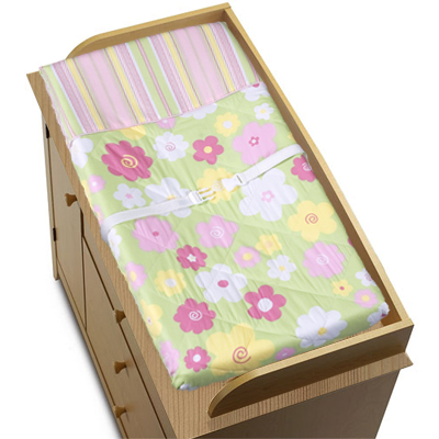 Pink and Green Blossom Girls Baby Changing Pad Cover - Click to enlarge