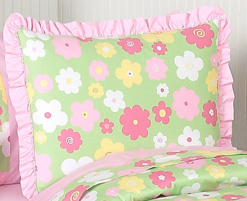 Pink and Green Blossom Girls Pillow Sham - Click to enlarge