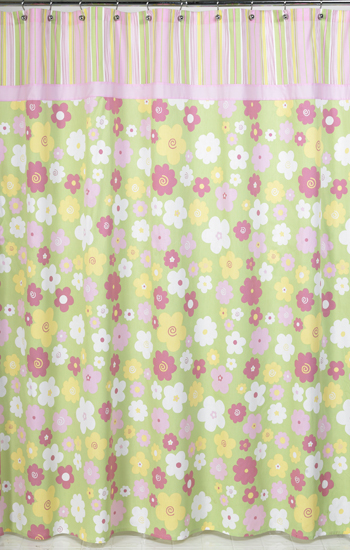 Pink And Green Blossom Kids Bathroom Fabric Bath Shower Curtain Only 19 99