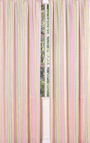 Pink and Green Blossom Stripe Window Treatment Panels - Set of 2 - Click to enlarge