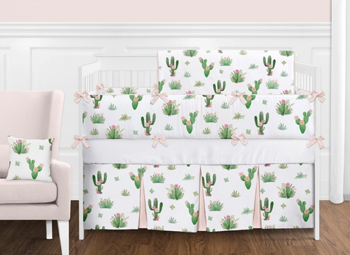 Pink and Green Boho Watercolor Cactus Floral Baby Girl Crib Bedding Set with Bumper by Sweet Jojo Designs - 9 pieces - Click to enlarge