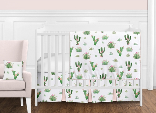Pink and Green Boho Watercolor Cactus Floral Baby Girl Crib Bedding Set without Bumper by Sweet Jojo Designs - 11 pieces - Click to enlarge