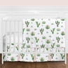 Pink and Green Boho Watercolor Cactus Floral Baby Girl Crib Bedding Set without Bumper by Sweet Jojo Designs - 4 pieces