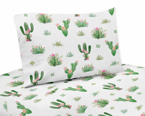 Pink and Green Boho Watercolor Queen Sheet Set for Cactus Floral Collection by Sweet Jojo Designs - 4 piece set - Click to enlarge