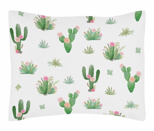 Pink and Green Boho Watercolor Standard Pillow Sham for Cactus Floral Collection by Sweet Jojo Designs - Click to enlarge