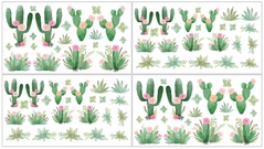 Pink and Green Boho Watercolor Wall Decal Stickers for Cactus Floral Collection by Sweet Jojo Designs - Set of 4 Sheets