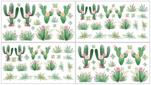 Pink and Green Boho Watercolor Wall Decal Stickers for Cactus Floral Collection by Sweet Jojo Designs - Set of 4 Sheets - Click to enlarge