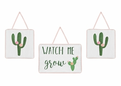 Pink and Green Boho Watercolor Wall Hanging Decor for Cactus Floral Collection by Sweet Jojo Designs - Set of 3