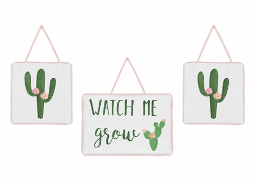 Pink and Green Boho Watercolor Wall Hanging Decor for Cactus Floral Collection by Sweet Jojo Designs - Set of 3 - Click to enlarge