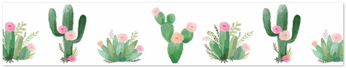 Pink and Green Boho Watercolor Wallpaper Wall Border for Cactus Floral Collection by Sweet Jojo Designs - Click to enlarge