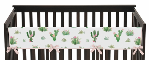 Pink and Green Cactus Floral Long Front Crib Rail Guard Baby Teething Cover Protector Wrap Boho Watercolor for Collection by Sweet Jojo Designs - Click to enlarge
