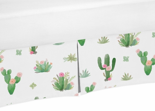 Pink and Green Cactus Floral Pleated Toddler Bed Skirt Dust Ruffle Boho Watercolor for Collection by Sweet Jojo Designs - Click to enlarge