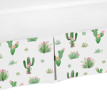 Pink and Green Cactus Floral Pleated Twin Bed Skirt Dust Ruffle Boho Watercolor for Collection by Sweet Jojo Designs